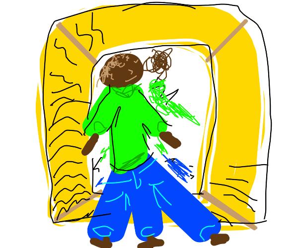 3 legged man looks at mirror