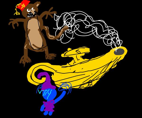 Monkey conjured Genie by rubbing lamp