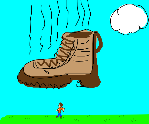 Tiny lonely man about to get crushed by boot