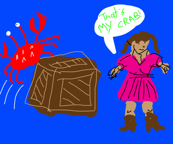 Crab jumps onto a box. Its owner is proud.