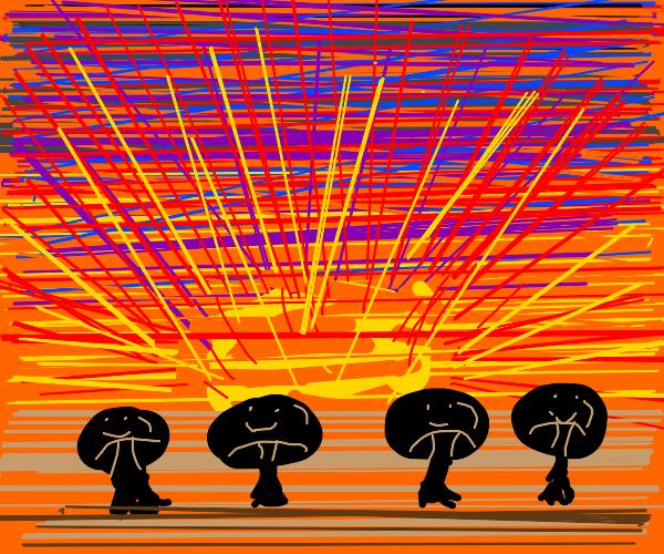 Happy mushrooms at sunset