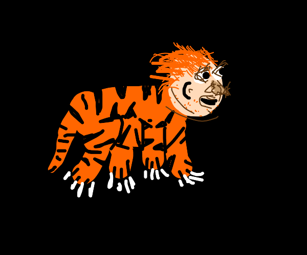 Tiger with a human face