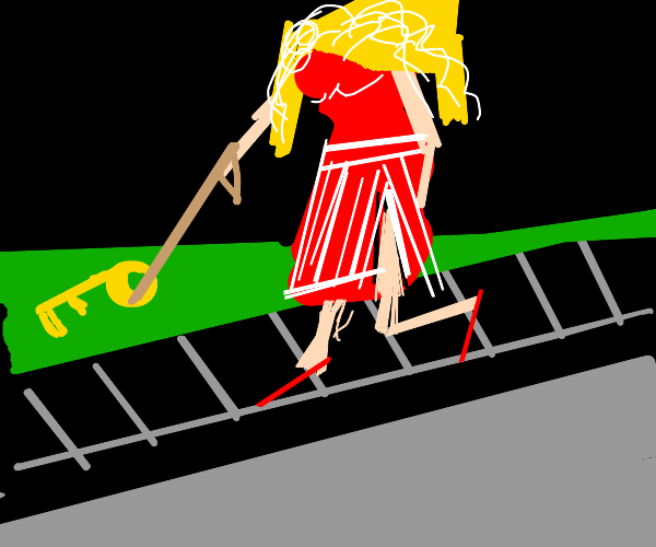 blond walks a key on a leash