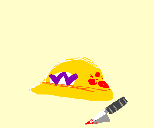 Blood on Wario's cap AND a knife; I'm worried