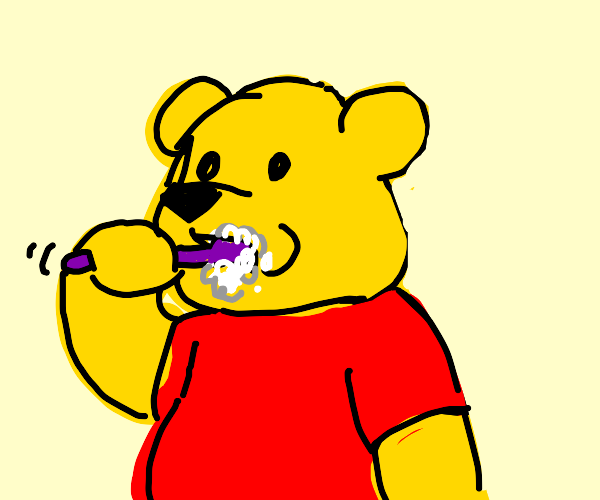 Pooh Brushing Teeth