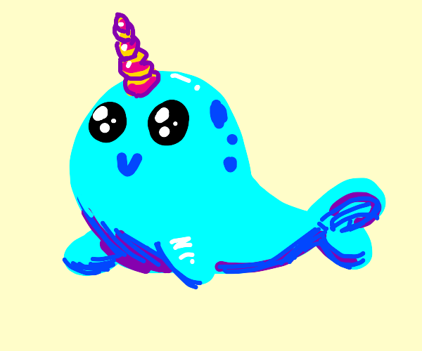 happy cute narwhal