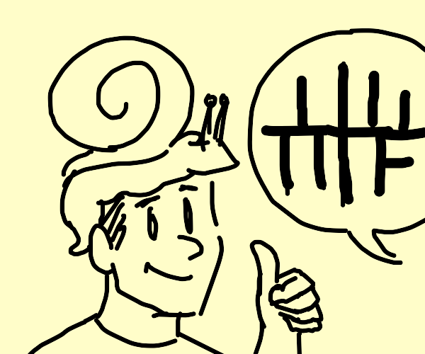 Man with snail on his head thumbs up to loss