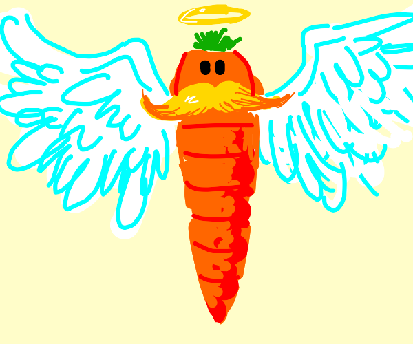 Angel carrot with a big yellow mustache