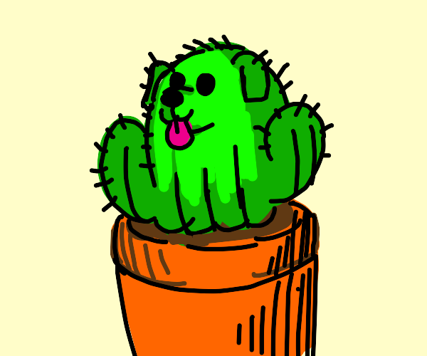 Potted Cactus with Puppy Face