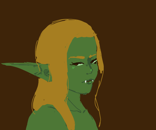 Elf woman with fangs
