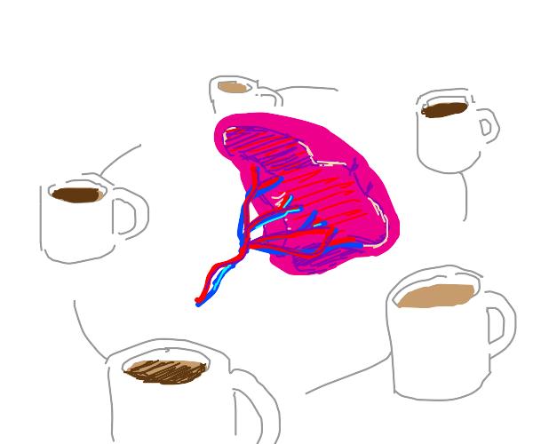 cups of coffe orbiting a spleen