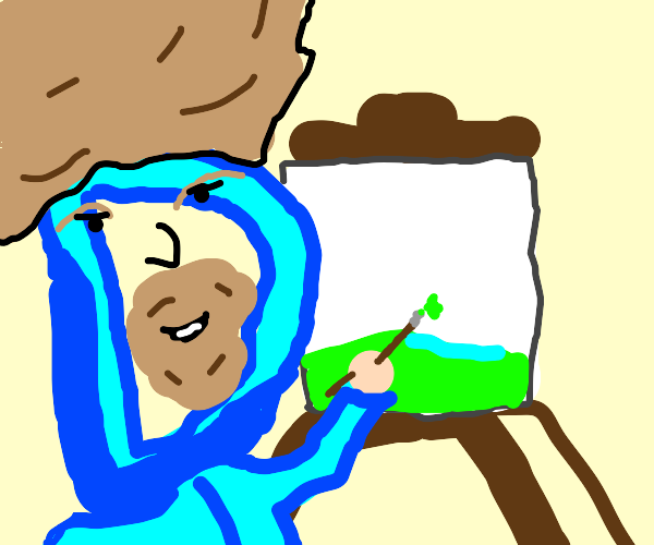 Drawception D is a painter and has a face
