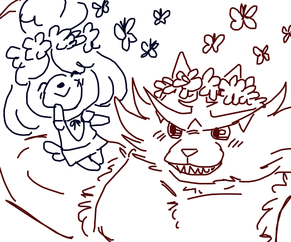 Incineroar and Isabelle with flower crowns