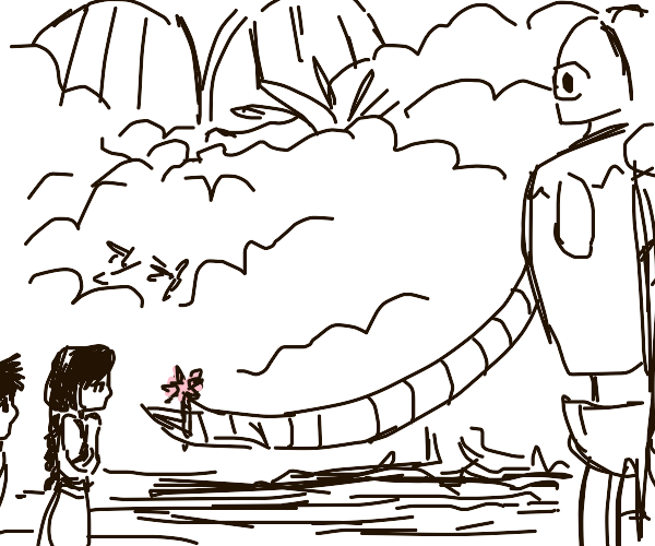 Iron Golem gives people a rose