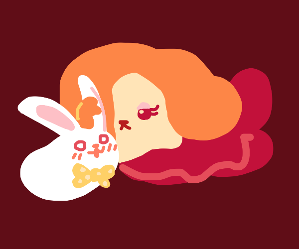 bunny bean with bowtie is with lady bean