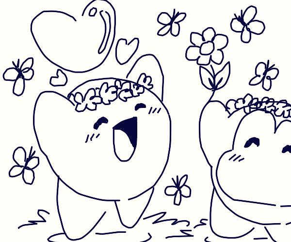 Kirby and BandanaDee make Flower Crowns