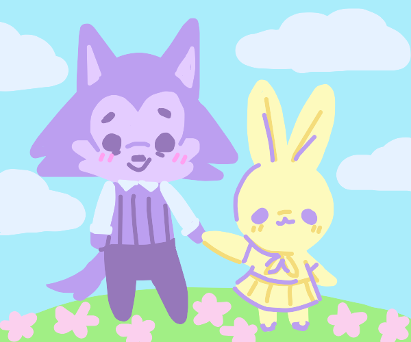 Wolf cub and bunny best friends