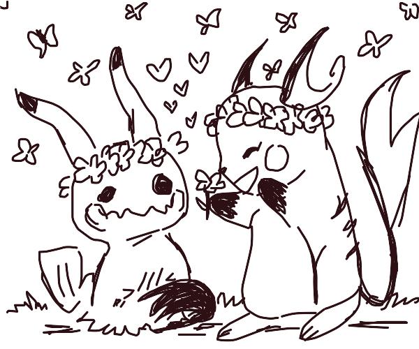 Raichu and Mimikyu make flower crowns