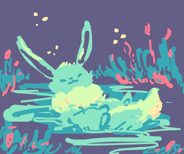 light blue evee in pond/marsh