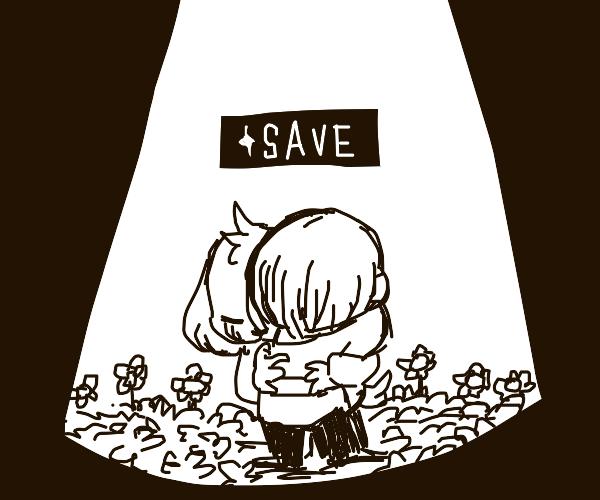 Frisk and Asriel hug