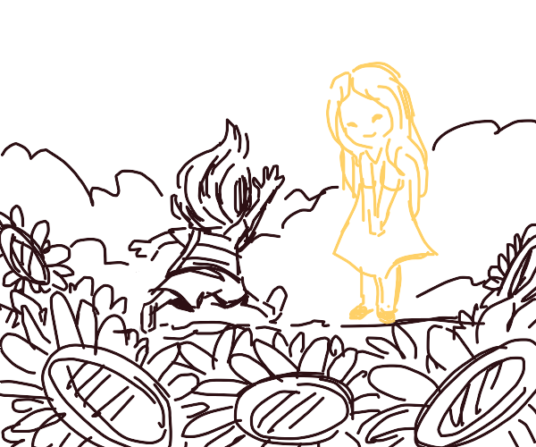 Lil' boy running after ghost girl in flowers