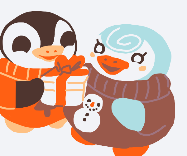 penguin giving gift to another penguin