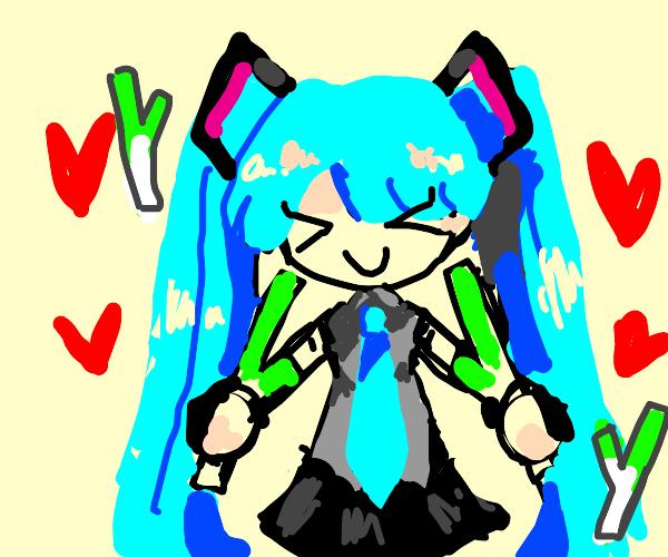 hatsune miku loves her leeks
