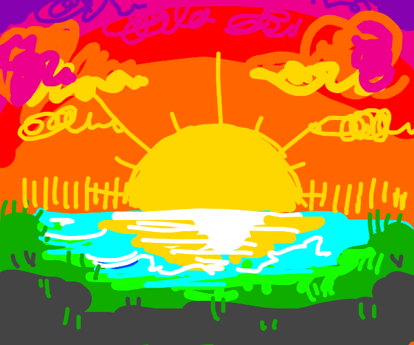 a lake, land, mountains and an orange sky