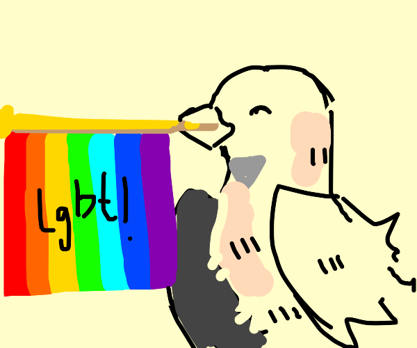 Gay bird advocating for gay rights