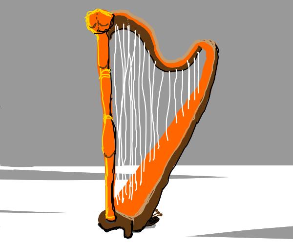 stringed instrument wearing a ballcap