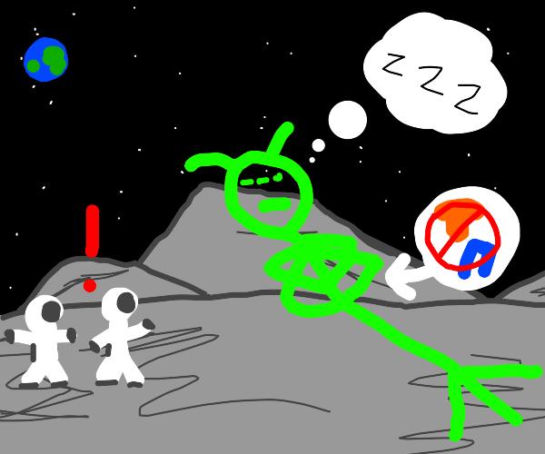 astronauts encounter sleeping naked giant