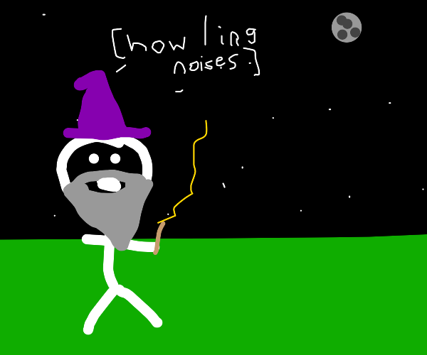 Wizard howling at the moon