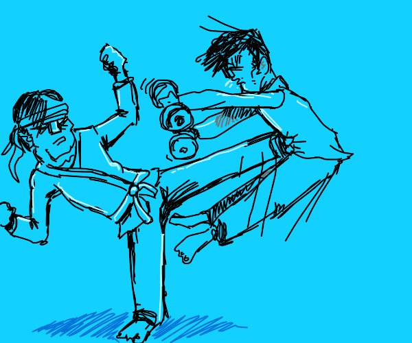 Kung fu fighter kicks man holding weights