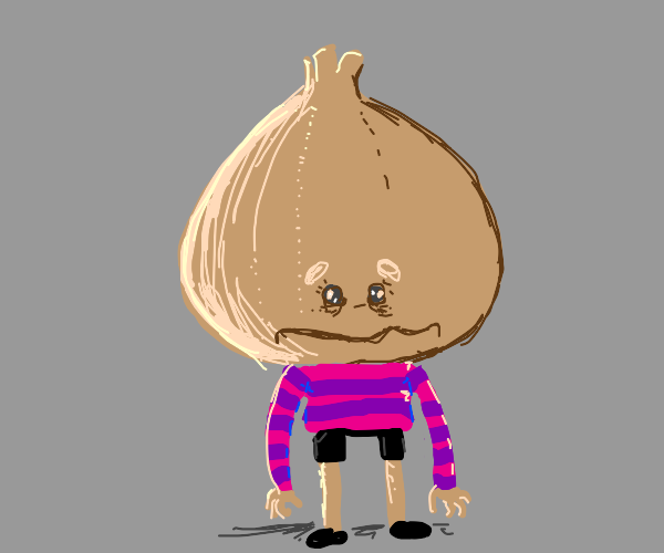 Ugly onion boy with  purple and pink strips
