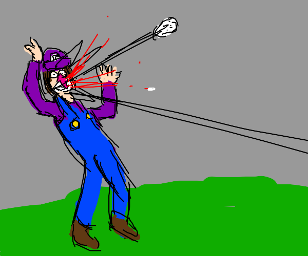 Waluigi hit by golf ball