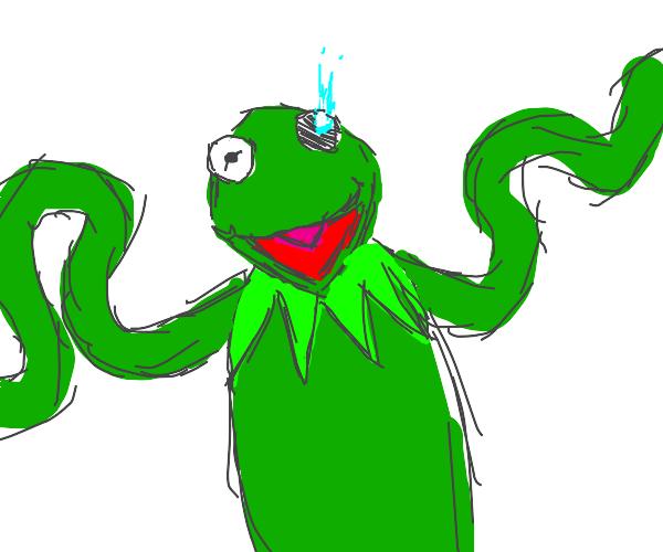 kermit has glitch eye virus in one of his eye