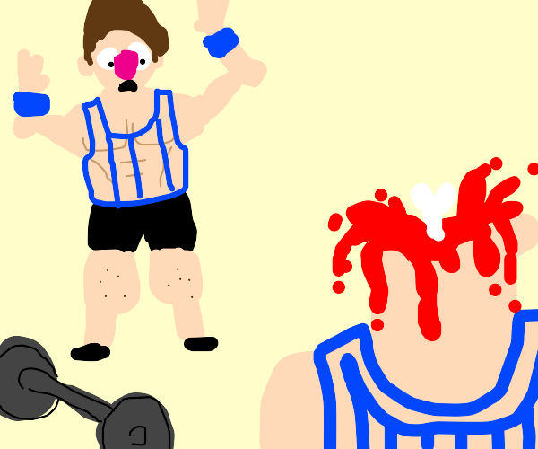 gym bro shocked by severed head