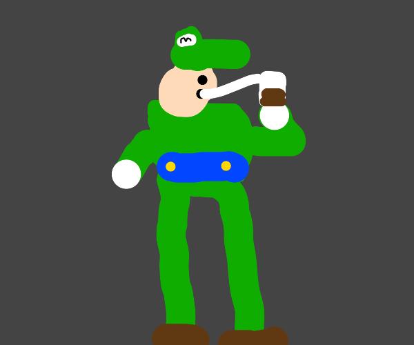 Luigi drinks choccy milk