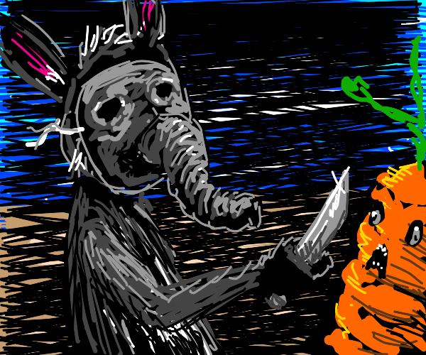 Rabbit in Elephant mask threatens carrot-man