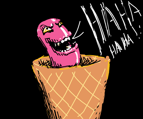 an evil hot dog is laughing in ice cream cone