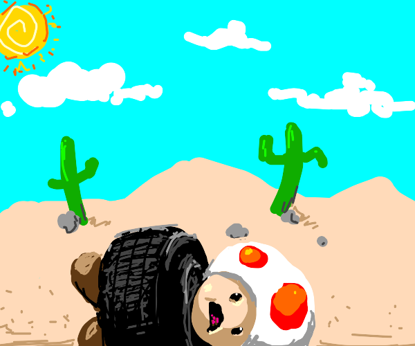 Toad the mushroom tired in a desert
