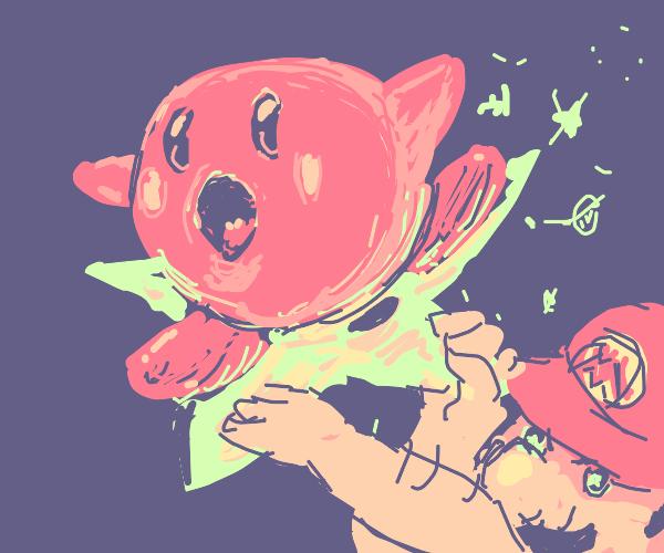 Kirby riding a Mario Star