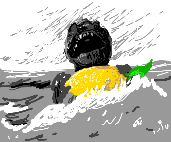 Godzilla rises from the ocean with a lemon