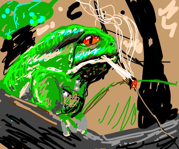 Frog smoking