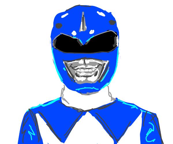 Blue power ranger grinning!
