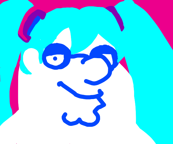 Hatsune Miku but drawn in family guy style