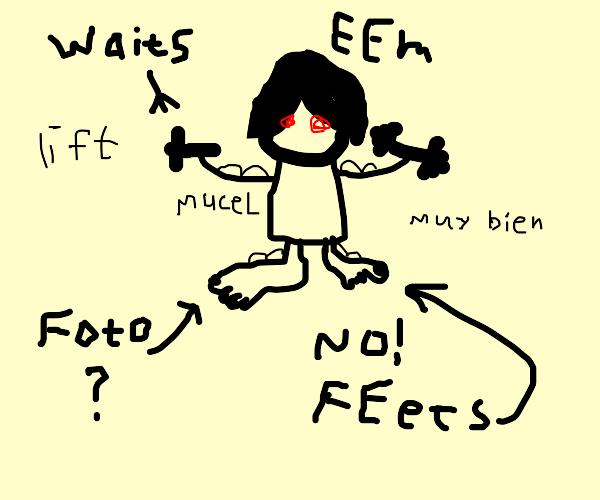 emo kid lifting weights