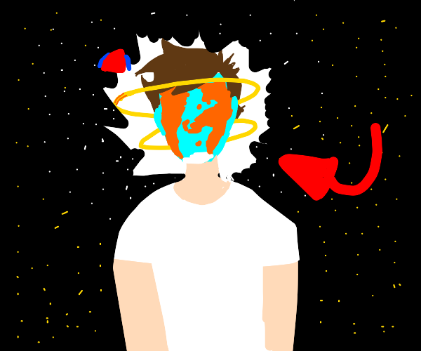 arrow pointing to planet-faced man