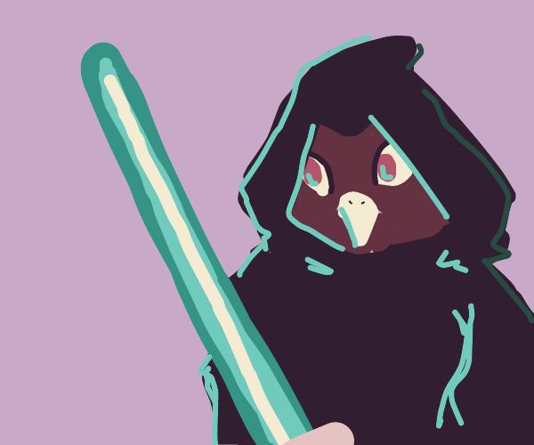 Jedi with a laser sword in a cloak