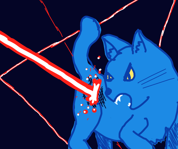blue angry cat is hit by laserbeam